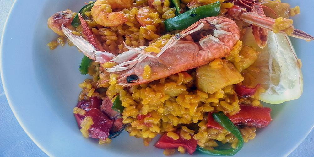 Prawns Rice Vegetables Tapa In Gamba