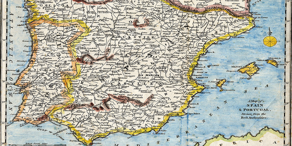 Old coloured map of Spain