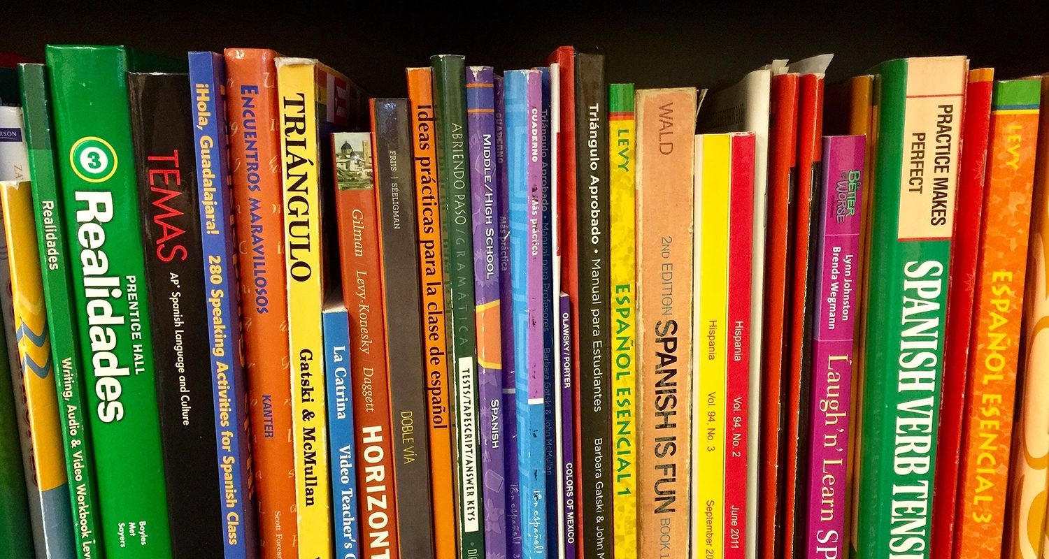 spanish books in bookshelf