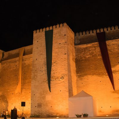 Moorish walls at night velez malaga
